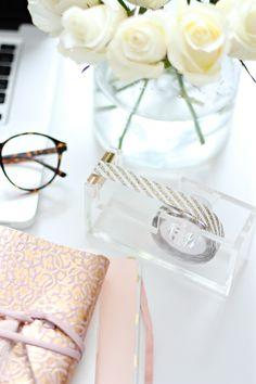 Glitter Tape // Acrylic Dispenser // Fresh Flowers // SS Office