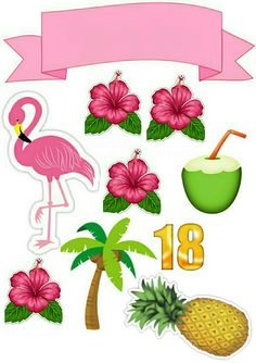 Pineapple princess in the pink parade Flamingo Party, Flamingo Craft, Flamingo Birthday, Flamingo Decor, Flamingo Illustration, Hawaian Party, Diy And Crafts, Crafts For Kids, Cake Toppers