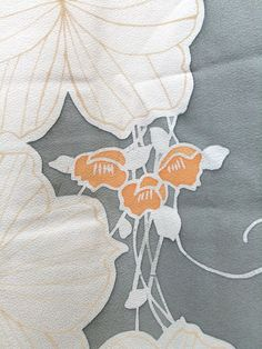 ☆ New Arrival ☆ 'Wonderful Day' #womens #vintage #light #grey #silk #Japanese#haori #kimonojacket with pale #beige and #orange #floral #motif #design from #FujiKimono http://www.fujikimono.co.uk/fabric-japanese/wonderful-day.html #textile #Japanese #costume #kawaii
