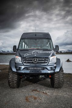 Arctic Trucks Iceland have kitted this Mercedes-Benz Sprinter out as confident off-roader with mammoth tyres. 4x4 Van, 4x4 Camper Van, Truck Camper, Mercedes Sprinter 4x4, Mercedes G Wagon, Benz Sprinter, 6x6 Truck, Trucks, Ambulance