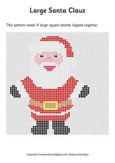 Our Santa Fuse Bead Pattern can be made with hama beads, perler beads or any generic fuse beads and is a great quick craft for kids at Christmas Easy Perler Bead Patterns, Fuse Bead Patterns, Beading Patterns, Cross Stitch Patterns, Christmas Perler Beads, Hama Beads Design, Peler Beads, Melting Beads, Tapestry Crochet