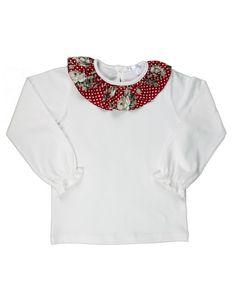 Camisola malha bege sem carda gola com tecido estampado Tam 2a, 3a, 4a, 6a, 8a e 10 anos