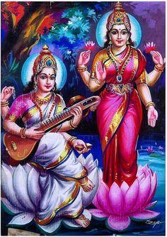 Mata Lakshmi and godess Saraswati Saraswati Goddess, Mother Goddess, Shiva Shakti, Goddess Lakshmi, Saraswati Mata, Lakshmi Images, Ganesh Images, Tanjore Painting, Divine Mother