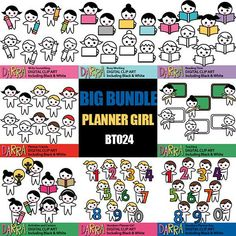 Planner sticker clipart sale bundle / planner girl boy characters clip art / to do list activities clipart printable, commercial use