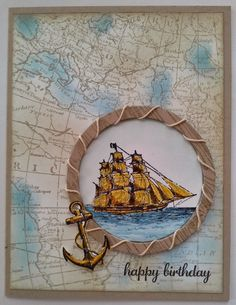 handmade card ... World map Background Stamp ... luv how she stamped in brown and sponged on blue ink on the seats ... window cut framed with cirlcle stamped with a woodrain and wrapped with twime ... sailing shi image ... great card! ... Stampin'Up!