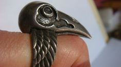 Raven Head adjustable silver tone chunky ring, wings band, unsigned