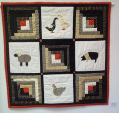 Jenny's Animal Applique and Log Cabin Patchwork Quilt