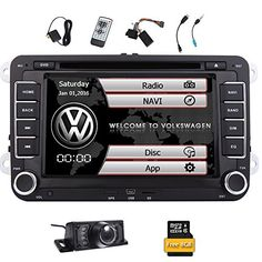 Free Reversing Camera  EinCar Double Din 7 Inch Car Stereo Radio DVD GPS Nav CD Player In Dash Bluetooth Touch Screen Head unit for VW Passat t5 Golf MK5 Jetta with 8GB Map Card -- Click image to review more details.