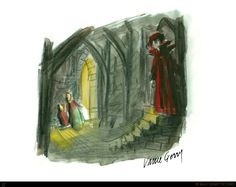 """Concept art of Frollo in the cathedral from Disney's """"The Hunchback of Notre Dame"""" (1996)."""