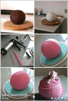 Tutorial-Ball of yarn cake Cake Decorating Techniques, Cake Decorating Tutorials, Decorating Ideas, Fancy Cakes, Cute Cakes, Pink Cakes, Knitting Cake, Sewing Cake, Cake Topper Tutorial