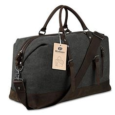 Canvas Overnight Bag Travel Duffel Genuine Leather for Men and Women Weekender Tote (Grey) Source by dealsbyminute Bags travel Mens Overnight Bag, Leather Overnight Bag, Weekender Tote, Duffel Bag, Tote Bag, Travel Bags For Women, Travel Handbags, Travel Tote, Mens Travel Bag