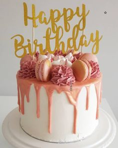 view of this rose gold birthday number Birthday Cake Roses, Happy Birthday Cakes, 14th Birthday, Ocean Cakes, Gold Cake, Birthday Cake Decorating, Cake Boss, Drip Cakes, Let Them Eat Cake
