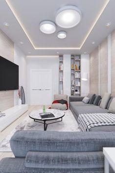 Гостиная в цветах: Светло-серый, Серый. Гостиная в стиле: Минимализм.