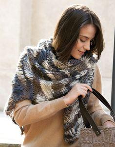 Book Woman Accessories 9 Autumn / Winter | 39: Woman Shawl | Grey-Dark beige
