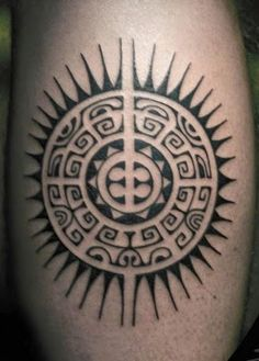 This is a Polynesian Sun Tattoo design. This is a different kind of tattoo art. Polynesian tattoo art is the most popular tattoo art from the ancient age