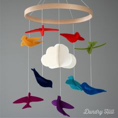 Rainbow Mobile  Rainbow Multi Colored Birds  Baby by dundryhill, $48.00