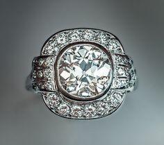 Art Deco 3 Carat Diamond Platinum Vintage by RomanovRussiacom