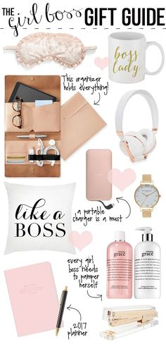 "eye mask // ""boss lady"" coffee mug leather organizing clutch // rose gold headphones // rose gold phone charger ""like a boss"" pill..."