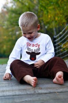 Boy's personalized Reindeer applique shirt also by Studio31Ten, $18.00