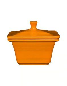 """Fiesta® Dinnerware Belk Square Covered Box in the 2020 Fiesta® color Butterscotch. Measures approximately 4.5"""" x 4.5"""" x 3.5"""" and has a 9-oz. capacity. Created exclusively for Belk Department Stores by the Fiesta Tableware Company. Made in A"""