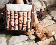 Boho art bamboo pattern handbags boho artwork ethnic girl