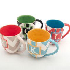 monogram mugs by Jill Rosenwald