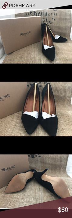 Madewell Mira Heel Black suede with pointy toe, stiletto heel and low-cut vamp, this might be your sexiest shoe yet. Padded base to make it comfortable wearing while looking oh so good. Madewell Shoes Heels