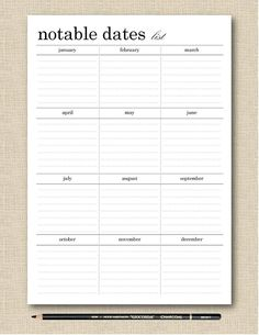 Life's Lists Printable Notable Dates Birthday Tracker Planner Book, Weekly Planner, Work Planner, Planner Journal, Birthday Tracker, Daily Organization, Custom Planner, Organized Mom, Tags