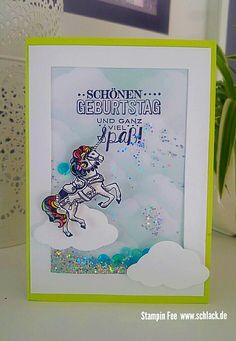 stampin Shaker Card  unicorn carousel birthday  schüttelkarte Einhorn Limette Lemon Twist