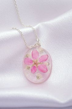 Sharing Joyce Grady - Real Flower Necklace Pink Flower and Baby's Breath Resin Jewelry Sterling Silver Botanical Necklace Woodland Wedding Gift For Girlfriend