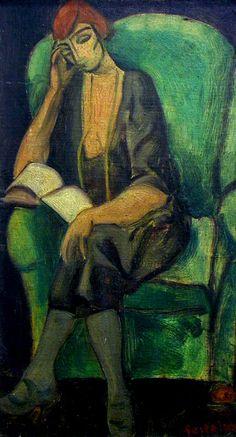 Lorser Feitelson (USA, 1898-1978) : Woman reading