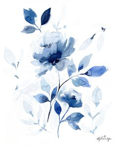 Watercolor Flowers Discover Healing Hearts Floral Fine Art Print Roses painted in blue set the mood for this floral watercolor painting. Printed on beautiful matte archival paper using archival inks. Every fine art print is s Art Floral, Watercolor Flowers, Watercolor Paintings, Watercolor Dandelion Tattoo, Drawing Flowers, Blue Painting, Painting Flowers, Contemporary Abstract Art, Modern Art
