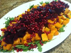 Thanksgiving| Salad | Butternut Squash | Arugula | Potluck |                                                                   For salad: 1 bag of prewashed baby arugula , 3 cups peeled, cubed, and roasted butternut squash,  2 large beets, roasted and cubed,  ½ cup of fresh pomegranate seeds    For dressing:  1 teaspoon Dijon,  ¼ cup real maple syrup,  ¼ cup lemon juice  , 1/3 cup olive oil.   Enjoy!