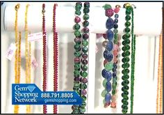Ruby and emerald beads along with other gemstones - just waiting for you to wear them from Gem Shopping Network.
