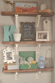 Rustic Shelves Tutorial...like the white and natural wood mixed