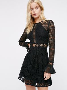 Flared mini dresses long sleeve