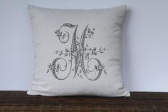 Floral French Monogram Pillow Cover - 14x14 / Gray