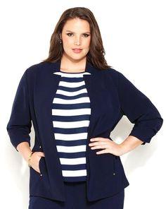 striped shirt navy blazer