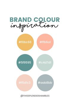 A brand is more than colours. But choosing your colours is a good start. Brand color inspiration.These are my colours. What are yours? This Splendid Shambles.