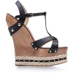 DOLCE & GABBANA Wedge (1.765 BRL) ❤ liked on Polyvore featuring shoes, sandals, wedges, heels, black, wedge sandals, black sandals, wood platform sandals, heeled sandals and black high heel sandals