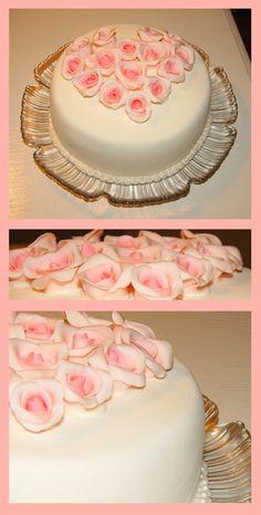 Simple Wedding Cake with handmade fondant roses..