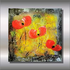 """Original Modern Abstract Painting Contemporary Colorful Fine Art 14 x14x1,6"""" abstract art flowers by Ettis Gallery FAST SHIPPING"""
