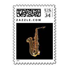 Saxophone Postage Stamp