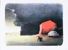 1703/547 - Poul Anker Bech: Komposition med bil. Sign. Poul Anker Bech, 15/47. Litografi i faver. Bladstørrelse 57 x 76. Uindrammet.