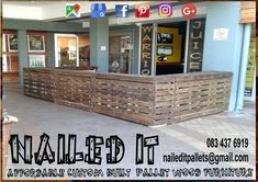 Freestanding Smoothie Bar counter. Split into 5 separate pieces for easy moving and setup. Affordable pallet wood furniture designed by you, built by us. For more info, contact 0834376919 or naileditpallets@gmail.com. #patiofurniture #palletbars #palletbarideas #palletbarcounter #palletcounter #nailedpalletfurnituredurban #naileditcustombuiltpalletfurniture #nailedcustompalletfurniture #custompalletfurniture