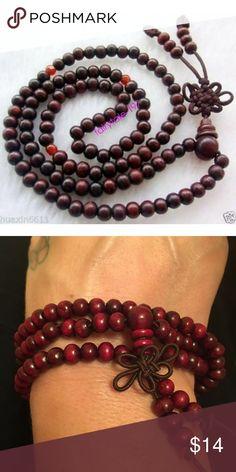 Fne china tibetan Red Bodhi buddhist buddha worry prayer bead mala bracelet