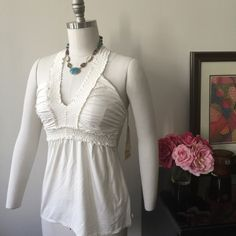 """NWT Body Glove Large """"Victoria"""" Halter.  Cream Wht NWT Body Glove """"Victoria"""" Halter.  Size: Large.  Color: Winter White.  Beautiful soft stretch fabric 95% Viscose, 5% Spandex.  Made in India.  Never worn, perfect condition.  Also available in Black.  See other listing. Body Glove Tops"""