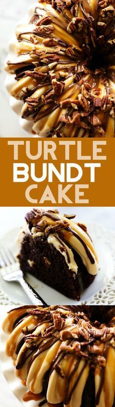 Turtle Bundt Cake... This cake is beyond delicious and will be one of the most moist and flavorful cakes you ever try! Caramel, chocolate sand pecans combine for a perfect blend of flavors and textures. You will not be able to stop at just one slice!