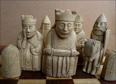 Lewis Chess - Day 108    Viking Age chess pieces from the Isle of Lewis. Originals carved in walrus ivory. These are replicas from the British Museum.