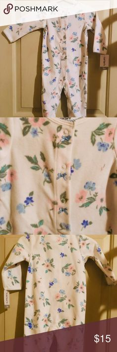 abd1bd734a7 NWT Carter s Pink Blue Floral Footed Sleep   Play Adorable NWT Carter s  Pink   Blue Floral